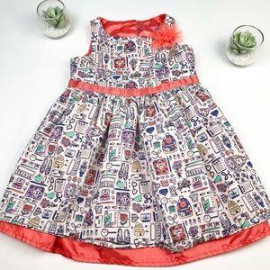 Cherokee Girls Sleeveless Ruffle Printed Dress 5T